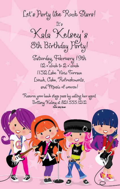 7th birthday message for girl ; glam-girls-rock-birthday