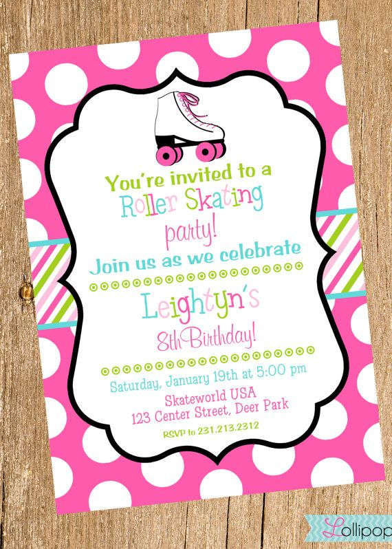 8th birthday invitation templates ; disco-party-invitation-wording-roller-skating-girl-printable-birthday-invitation-by-lollipopink