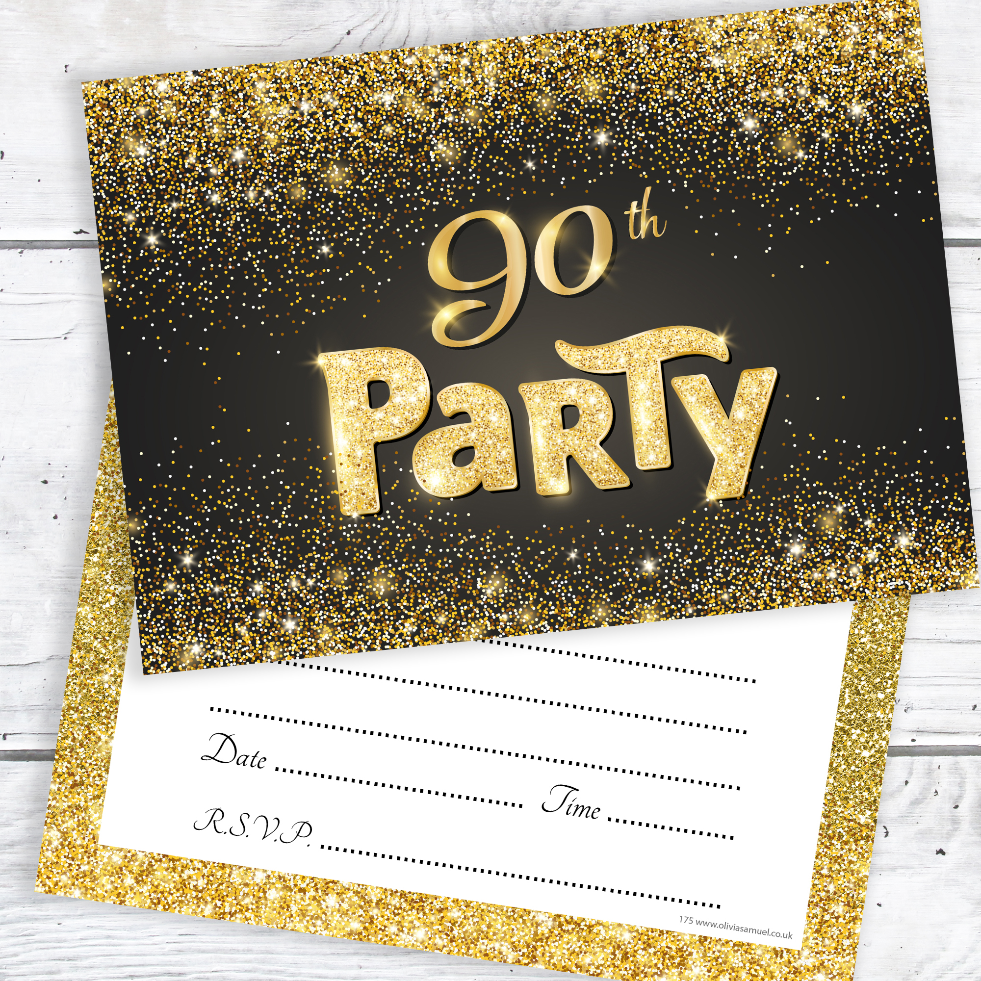 90th birthday party invitations ; 90th-Birthday-Party-Invitations-Black-and-Gold