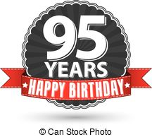 95th birthday clipart ; happy-birthday-95-years-retro-label-with-red-ribbon-vector-illustration-clipart-vector_csp25295550
