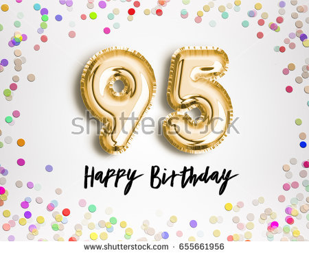 95th birthday clipart ; stock-photo--th-birthday-celebration-with-gold-balloons-and-colorful-confetti-glitters-d-illustration-design-655661956
