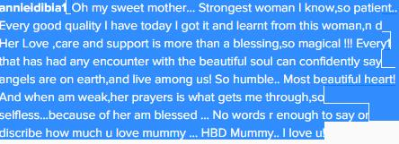 a message for a mother on her birthday ; Annie-message-mummy