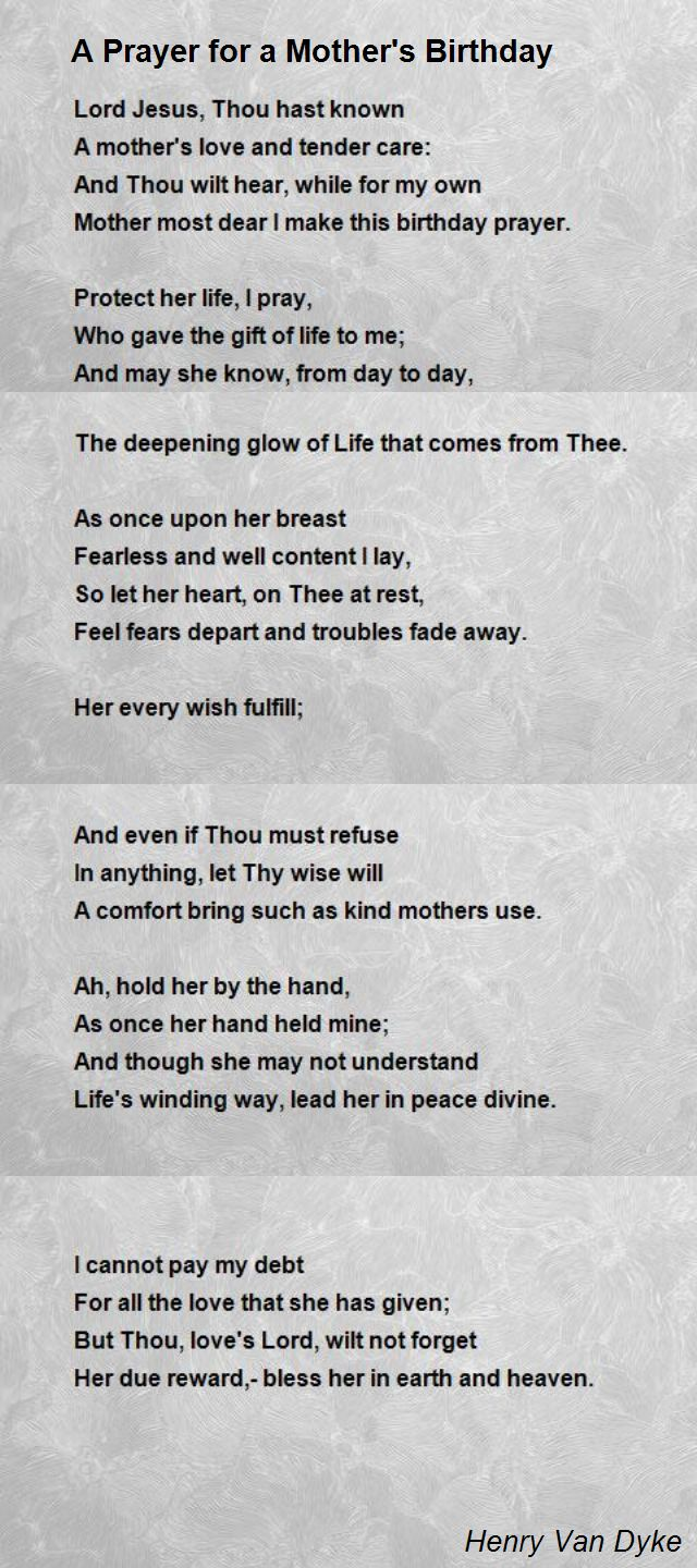 a poem for a mother on her birthday ; a-prayer-for-a-mother-s-birthday