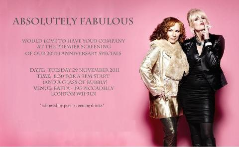 absolutely fabulous birthday card ; Ab+Fab+screening
