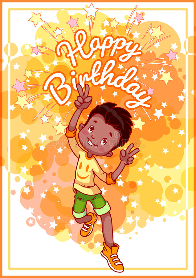 african american birthday greeting cards ; greeting-card-birthday-happy-african-american-boy-vector-template-postcard-yellow-tones-68773310