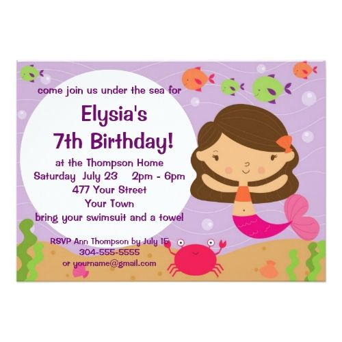 an invitation card for a birthday party ; 85cf0344508e90ee75c76d515526994a--mermaid-party-invitations-birthday-party-invitations