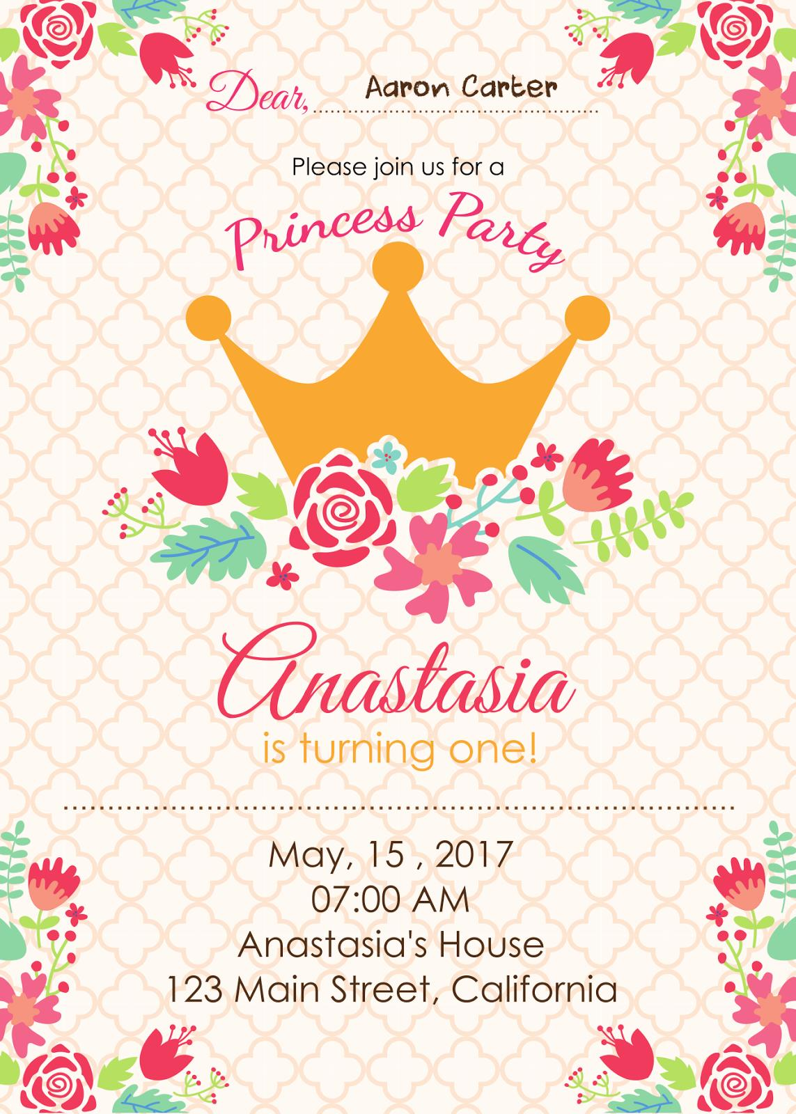 an invitation card for a birthday party ; Girl%252BPrincess%252BBirthday%252BInvitation%252BCard%252BPrintable-Preview