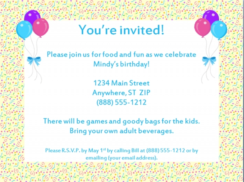 an invitation card for a birthday party ; doc-examples-invitation-card-birthday-party-wedding