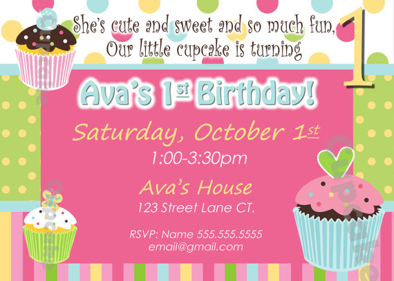 an invitation card for a birthday party ; invitations-cards-for-birthday-parties-card-invitation-design-ideas-cupcake-invite-birthday-party-pink