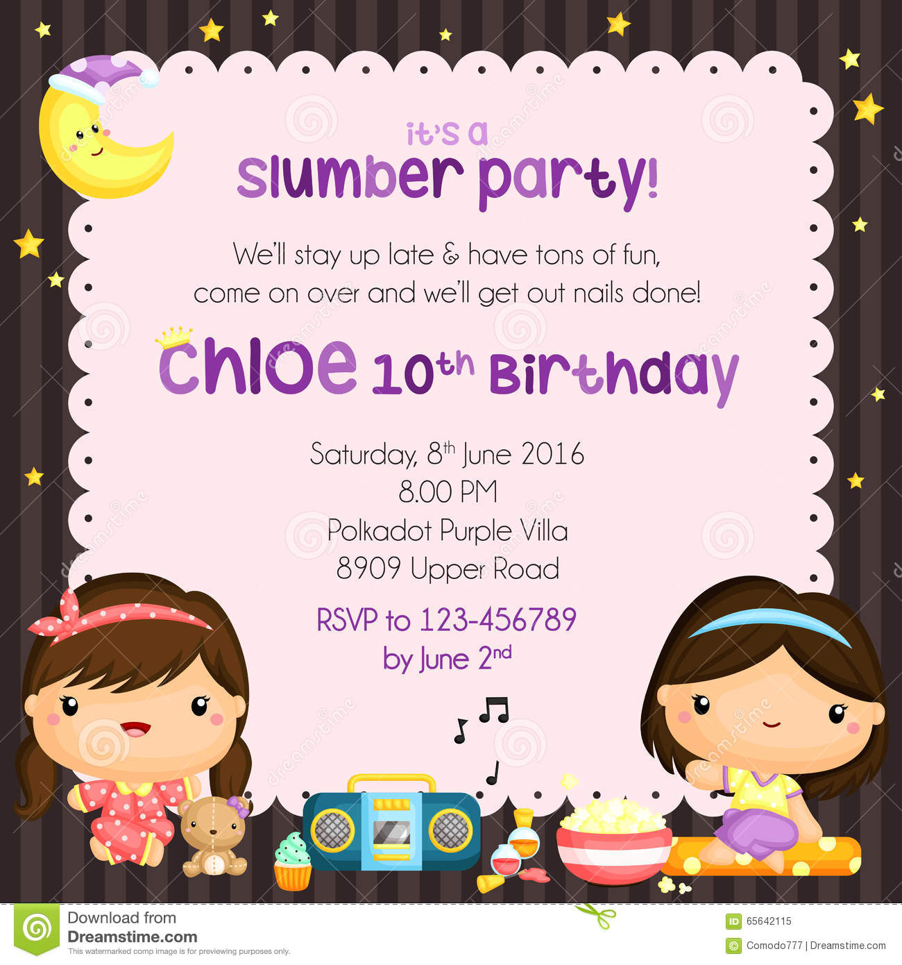 an invitation card for a birthday party ; slumber-birthday-party-invitation-card-cute-vector-65642115