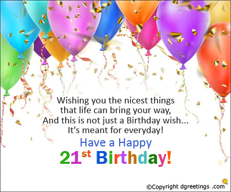 an invitation to birthday party ; happy-21st-card