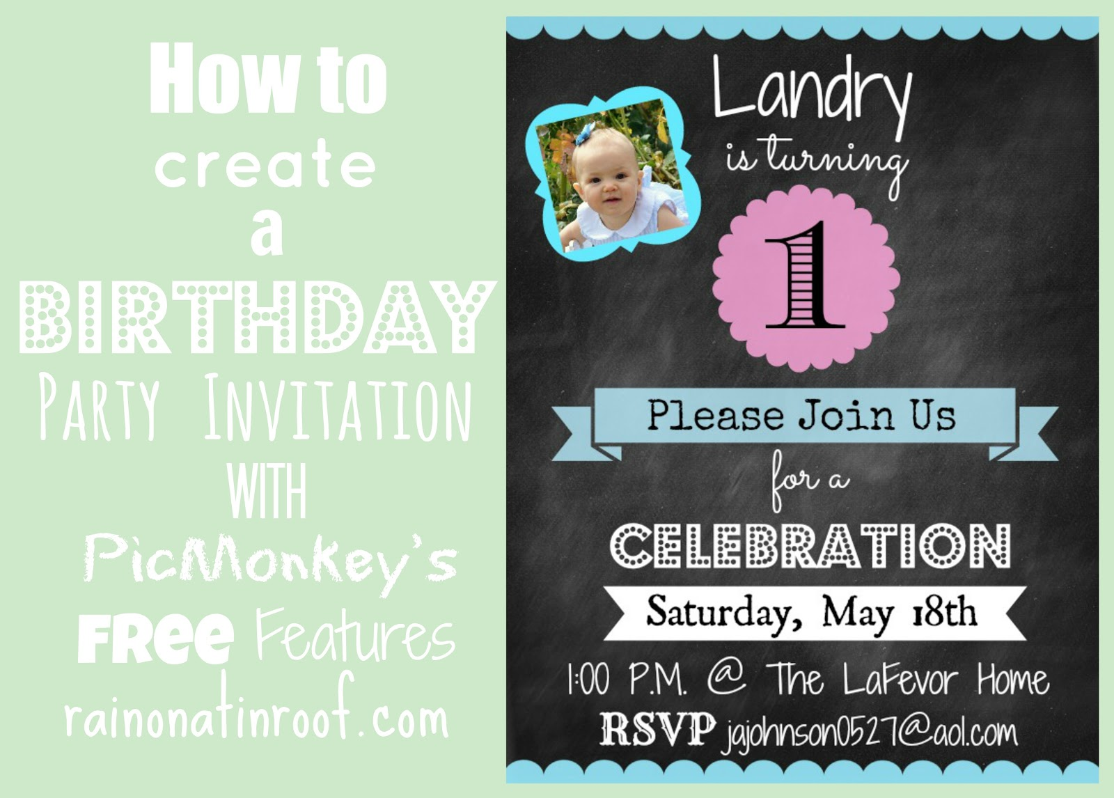 an invitation to birthday party ; how+to+create+a+birthday+party+invitation+with+picmonkeys+free+features