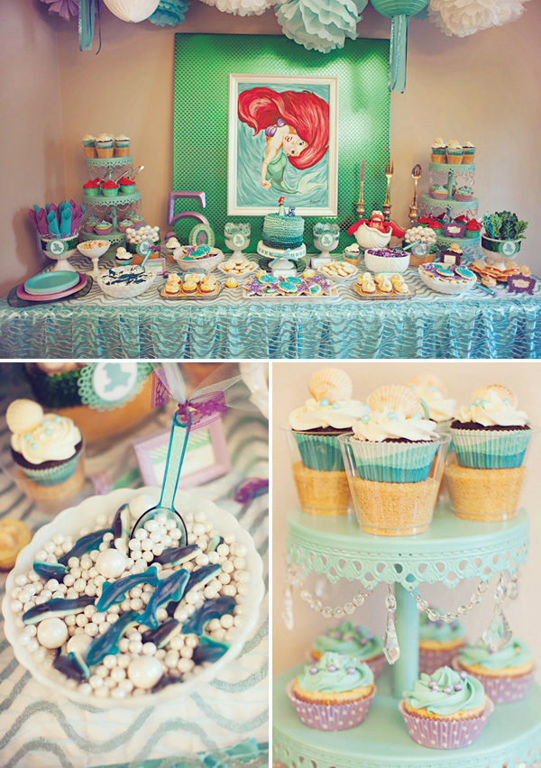 ariel birthday party ; ariel-little-mermaid-dessert-table