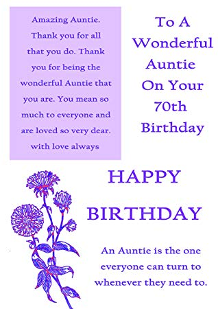 auntie 70th birthday card ; 819Lp-NbWEL