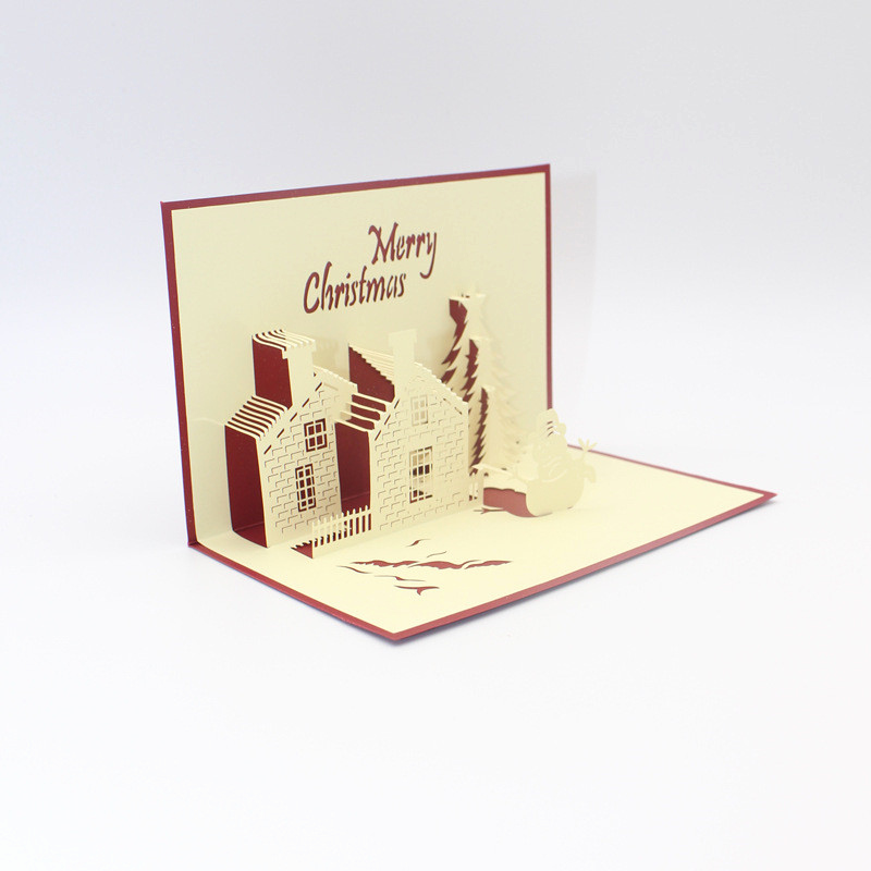 automatic birthday card service ; automatic-birthday-card-service-elegant-3d-diy-greeting-card-red-christmas-castle-3d-pop-up-paper-handmade-of-automatic-birthday-card-service