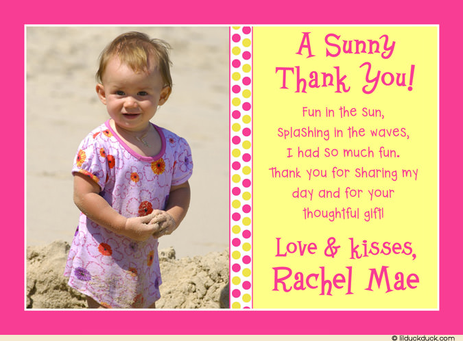 baby 1st birthday card wording ; first-birthday-thank-you-card-wording-dot-sunshine-thank-you-card-pink-yellow-photo-playful-ba-birthday-template