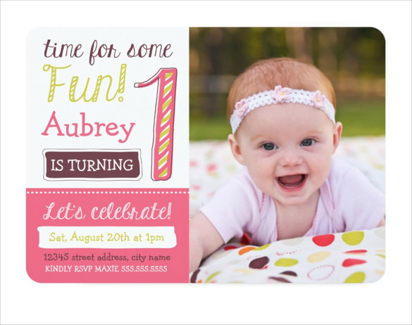 baby birthday invitation templates ; BrightPink-1st-Birthday-Invitation-Template
