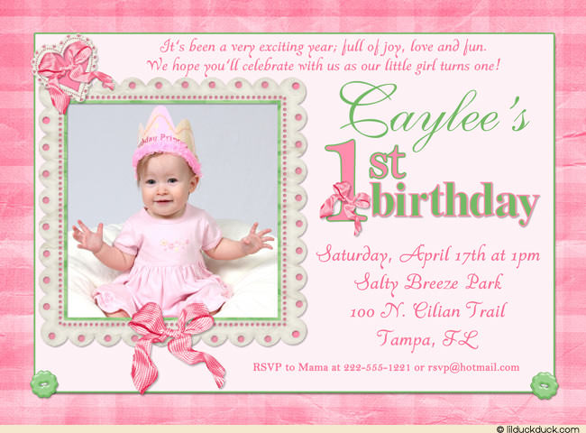 baby birthday invitation templates ; Pink-1st-Birthday-Invitation-Wording