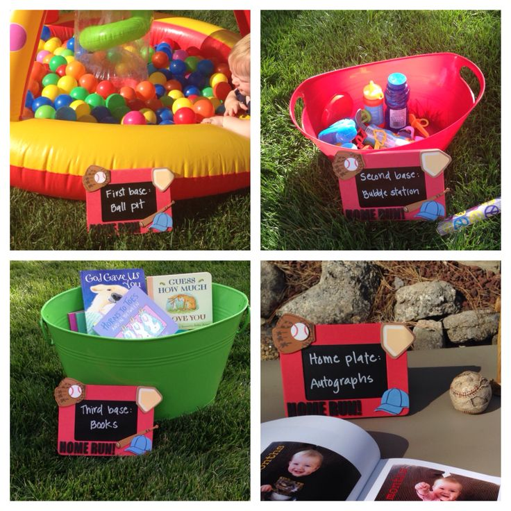baby birthday party games ; amazing-chic-first-birthday-party-game-ideas-baseball-themed-activities-at-each-base