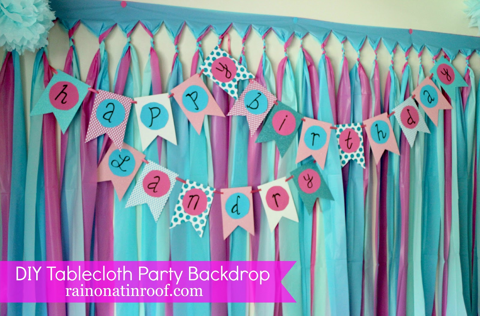 background decoration for birthday party at home ; DIY+Tablecloth+Party+Backdrop+3