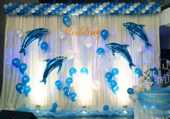 background decoration for birthday party at home ; The-wedding-to-decorate-children-s-birthday-party-Stage-background-decorate-adornment-dolphins-aluminium-film-the