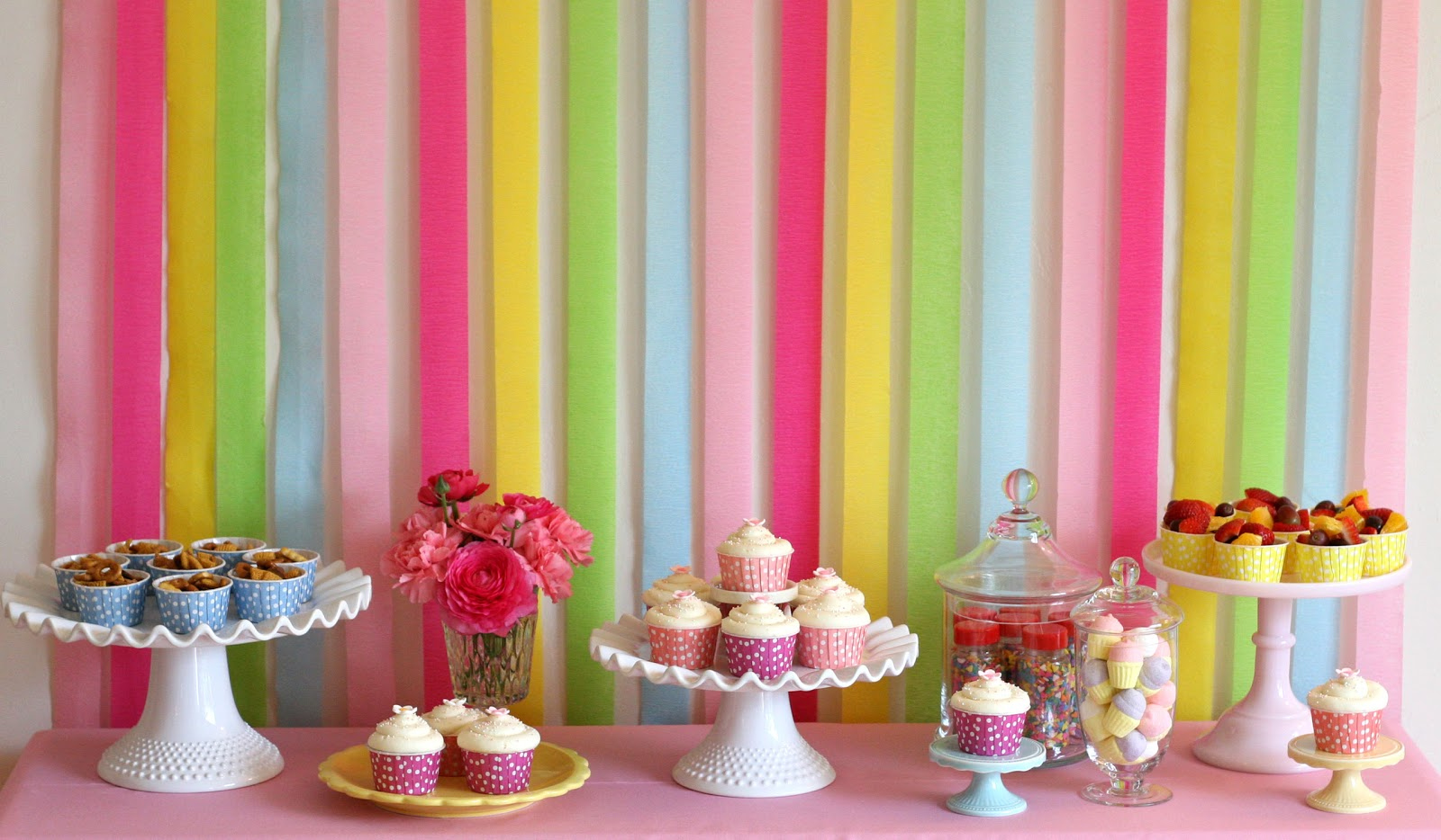 background decoration for birthday party at home ; rainbow+birthday+food+and+desserts