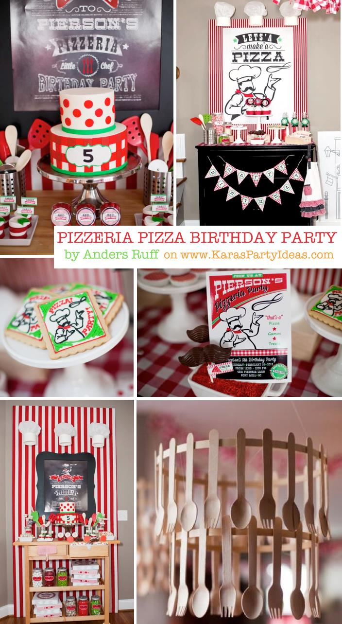 baking birthday party activities ; Pizzeria-Little-Chef-themed-pizza-party-via-Karas-Birthday-Party-Ideas-KarasPartyIdeas