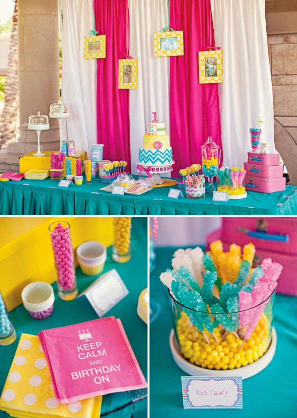 bday themes ; chevron-birthday-party-dessert-table