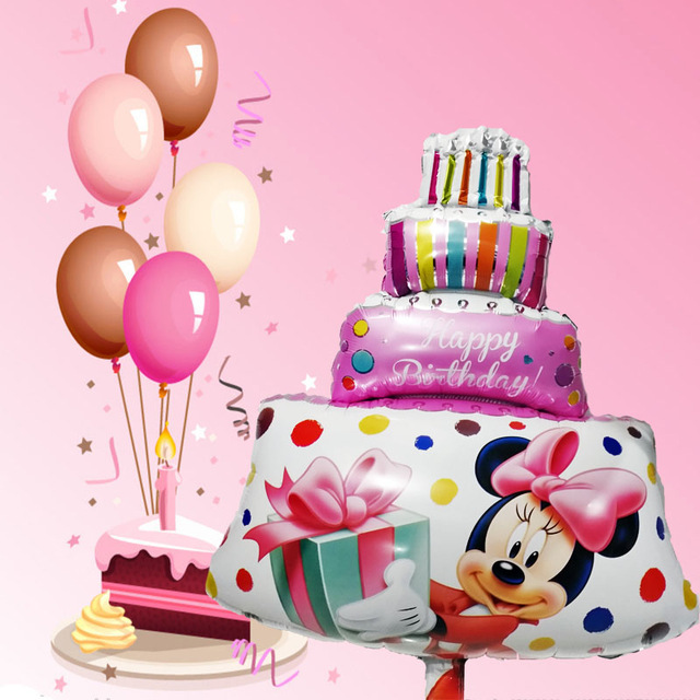 big birthday cake photo ; 1pcs-Large-Size-Pink-Minnie-Mickey-Party-Balloons-Big-Birthday-Cake-Air-Balon-Happy-Birthday-Decorations