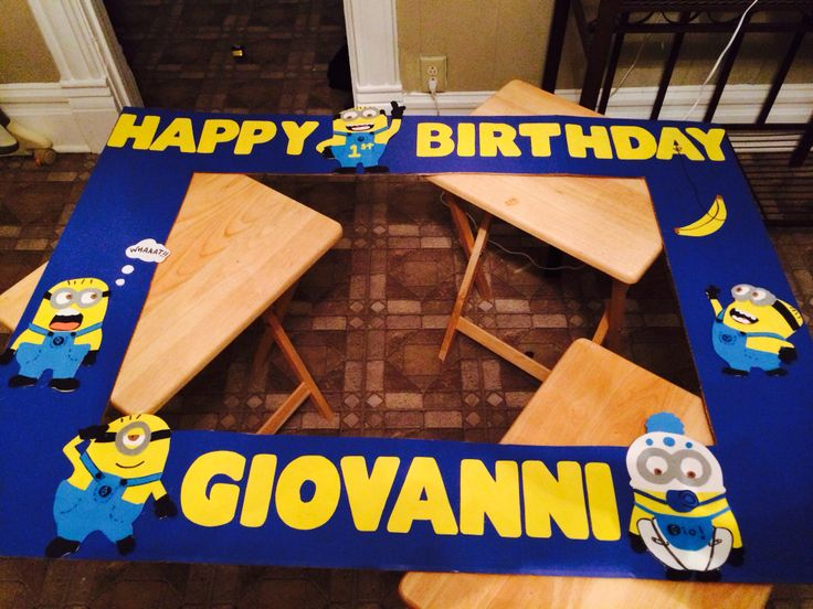 big picture frames for birthday parties ; 25f5c3a1680efa658cfa6a265256a23c--minion-theme-minion-birthday