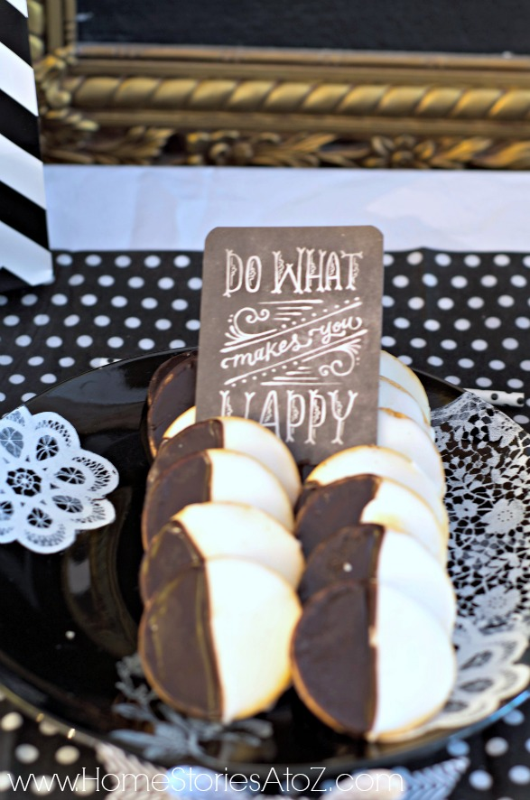 birthday activity ideas for husband ; black-and-white-dessert-buffet