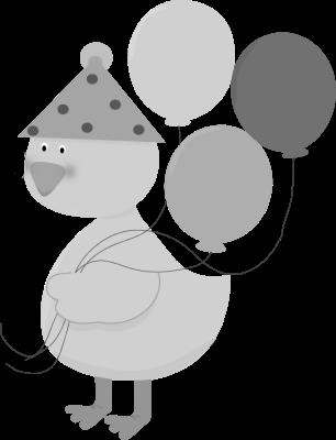 birthday animal clipart ; Duck-Birthday-Animal-free-black-white-clipart-images-clipartblack