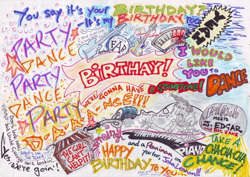 birthday artwork ; beatles-birthday-ant-art