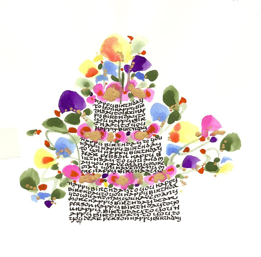 birthday artwork ; birthday-cake-with-flowers-and-words-darlene-flood