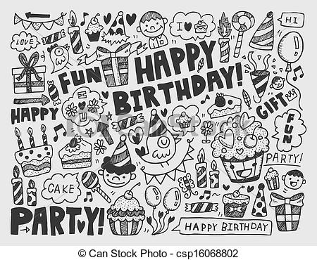 birthday artwork ; doodle-birthday-party-background-vector-clipart_csp16068802
