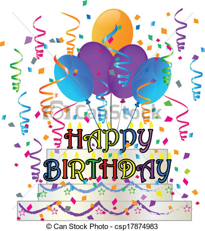 birthday artwork ; happy-birthday-cake-with-confetti-eps-vector_csp17874983
