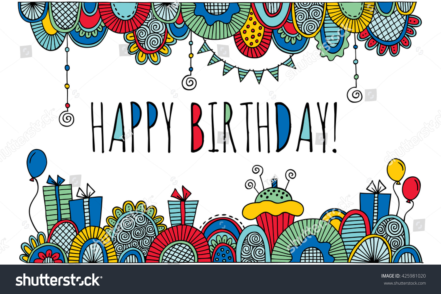 birthday artwork ; stock-photo-happy-birthday-with-border-bright-doodle-artwork-colorful-birthday-illustration-the-words-happy-425981020