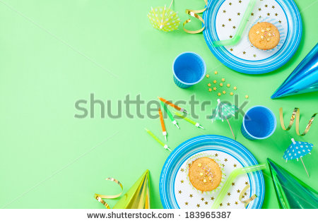 birthday background layout ; stock-photo-boy-birthday-decorations-green-table-setting-from-above-with-muffins-drinks-and-party-gadgets-183965387