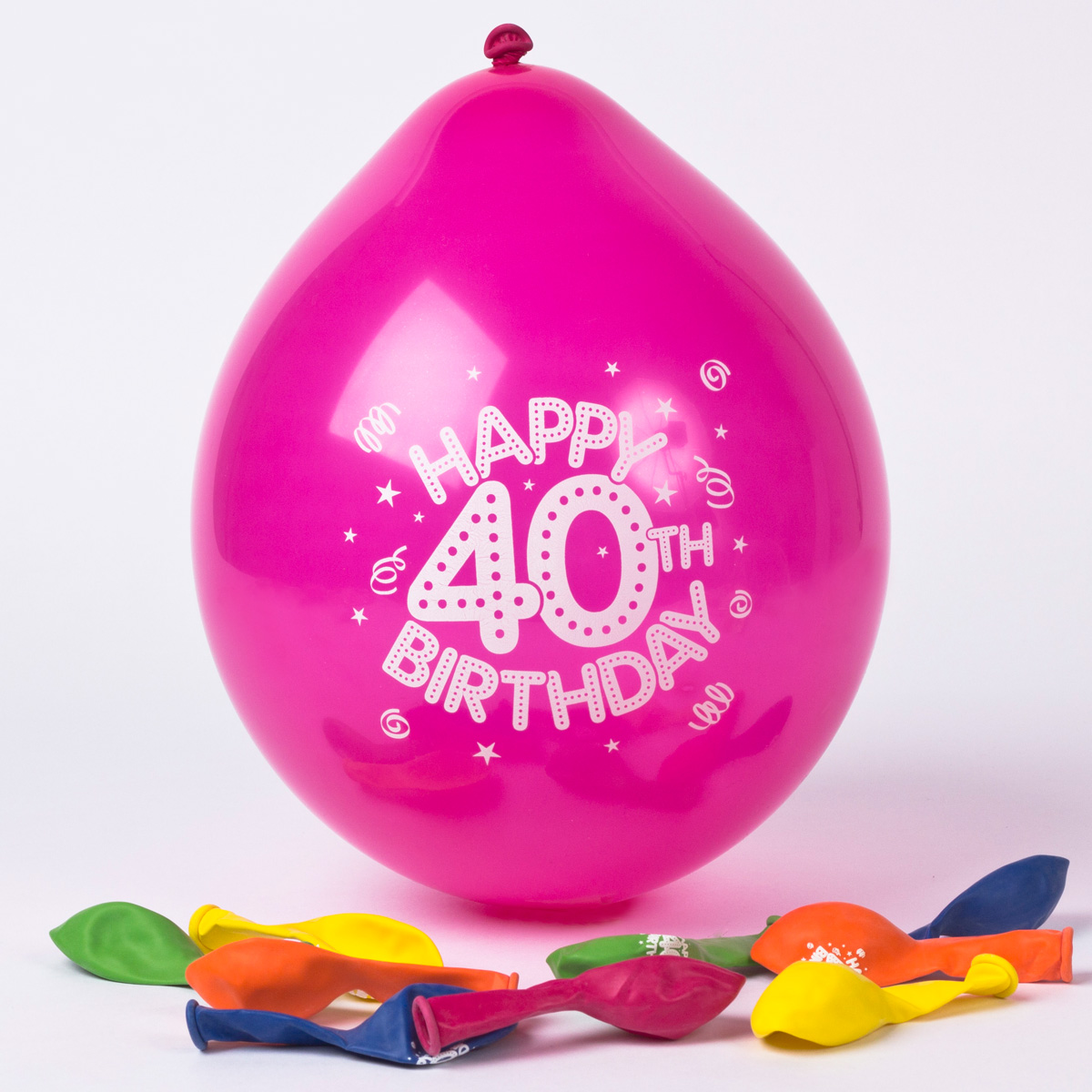 birthday balloons card factory ; multicoloured-age-40-small-latex-balloons-pack-of-10_a