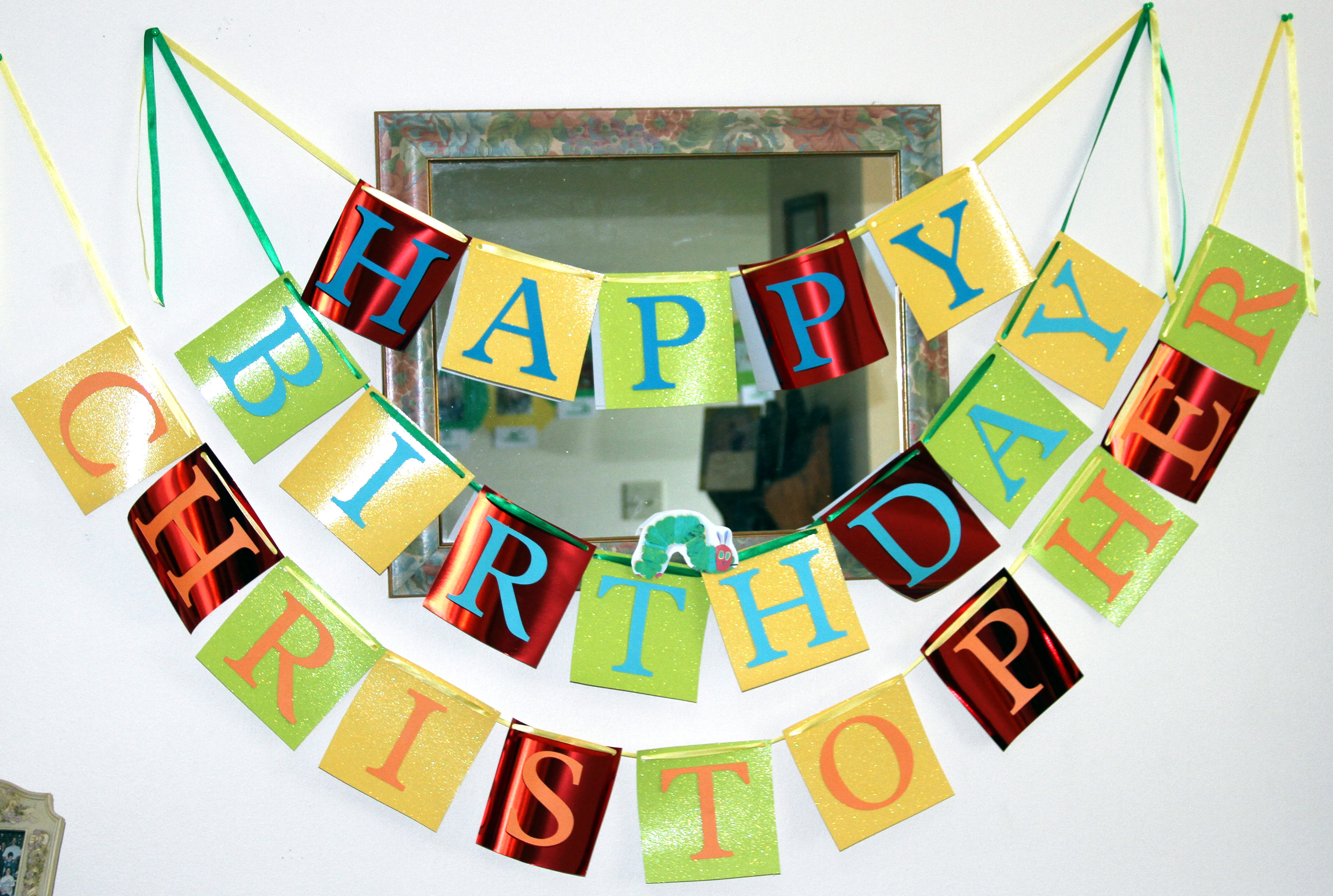 birthday banner decoration ideas ; The-Very-Hungry-Caterpillar-Happy-Birthday-banner-and-other-birthday-decoration-ideas