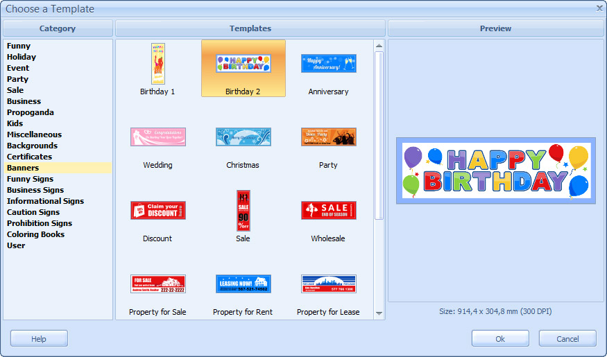 birthday banners software ; choose_a_template_dialog-1