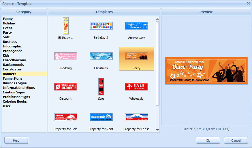 birthday banners software ; choose_a_template_dialog