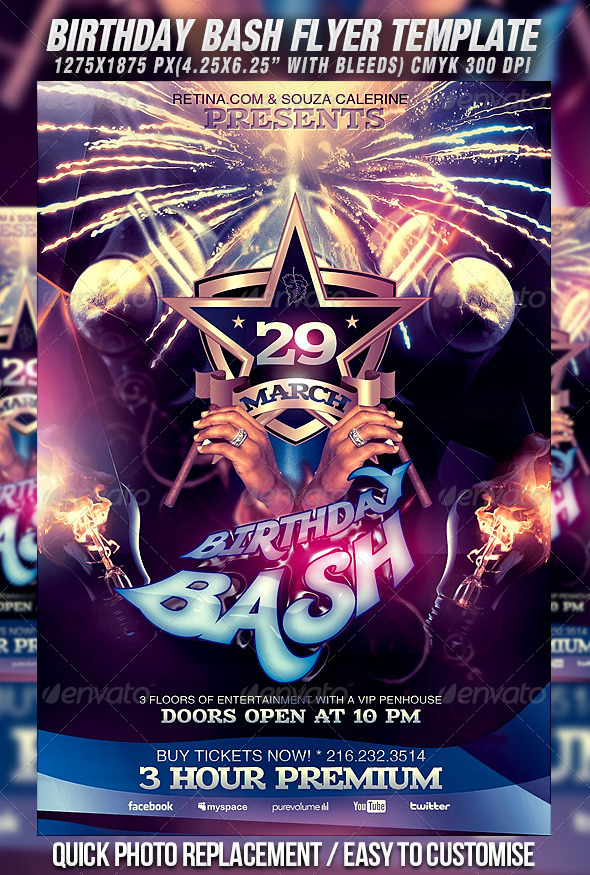 birthday bash flyer background ; preview