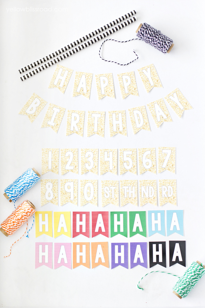 birthday bunting printable ; Free-Printable-Happy-Birthday-Mini-Cake-Bunting-in-Several-Colors