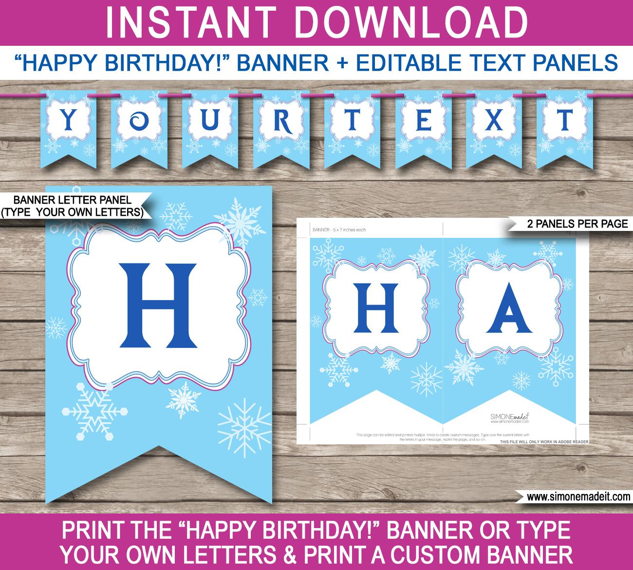 birthday bunting printable ; Frozen-Banner-Template-Happy-Birthday-Banner-editable-text