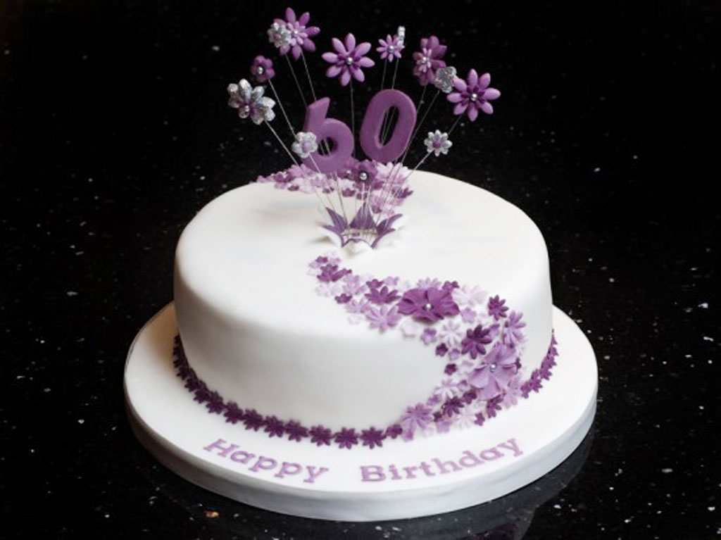 birthday cake design ideas ; decorated-birthday-cakes-round-white-purple-flower-pattern-cake-beautiful-elegant-surprise-60th-birthday-themed-cakes-for-girl-woman-birthday-decoration
