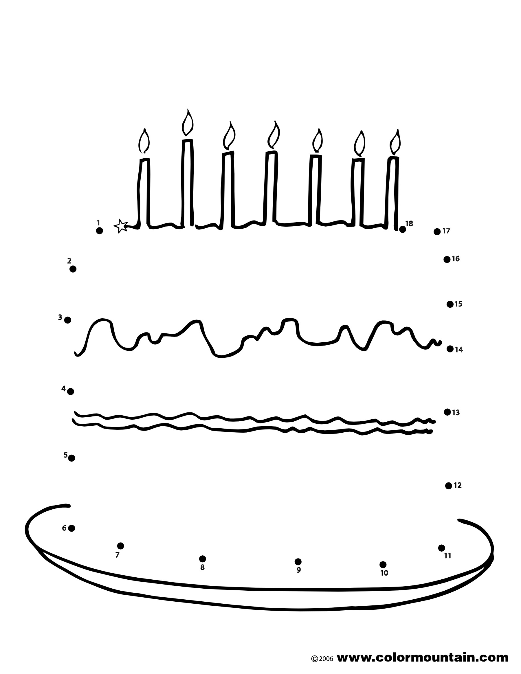 birthday cake print out ; dot-cake-1-coloring-page