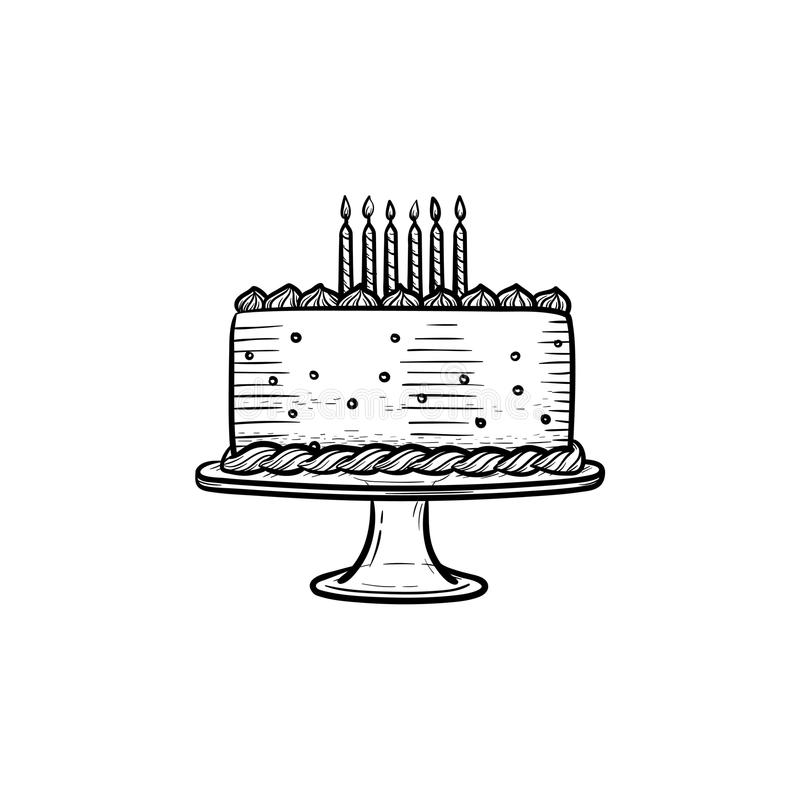 birthday cake sketch ; birthday-cake-hand-drawn-outline-doodle-icon-vector-sketch-illustration-decorated-birthday-cake-candles-print-web-113609924