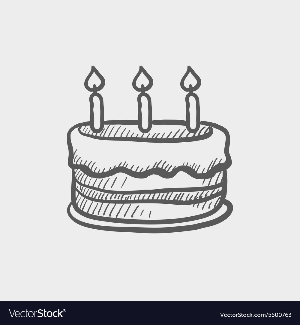 birthday cake sketch ; birthday-cake-with-candles-sketch-icon-vector-5500763