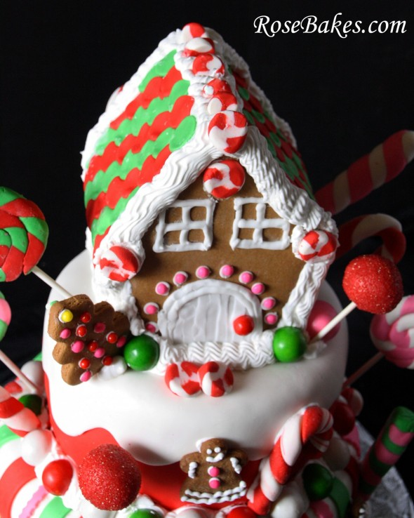 birthday cake with picture on top ; Gingerbread-House-Christmas-Birthday-Cake-Top-590x738